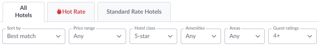 All hotels tab