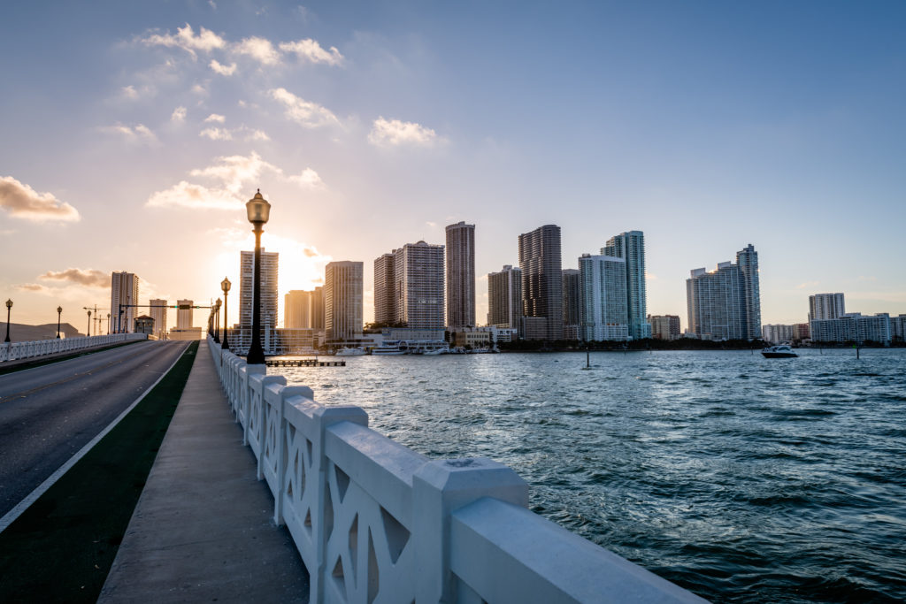A view of the Venetian Causeway walking path in Miami, Florida