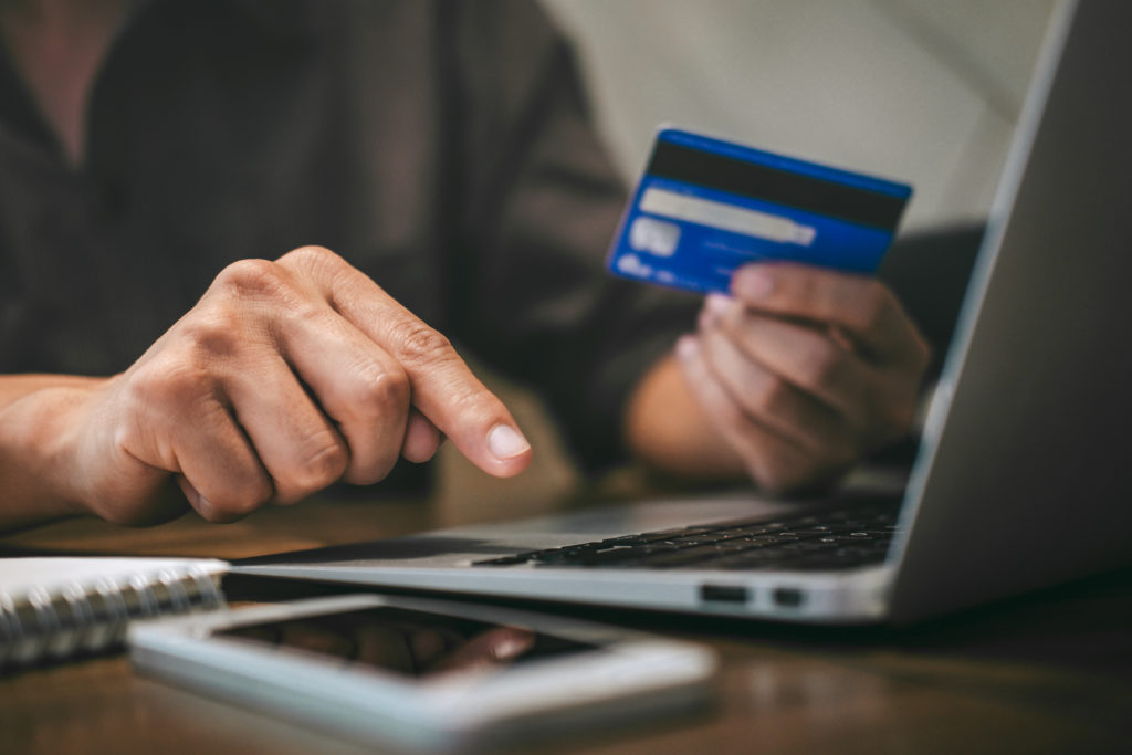 Person completing online purchase