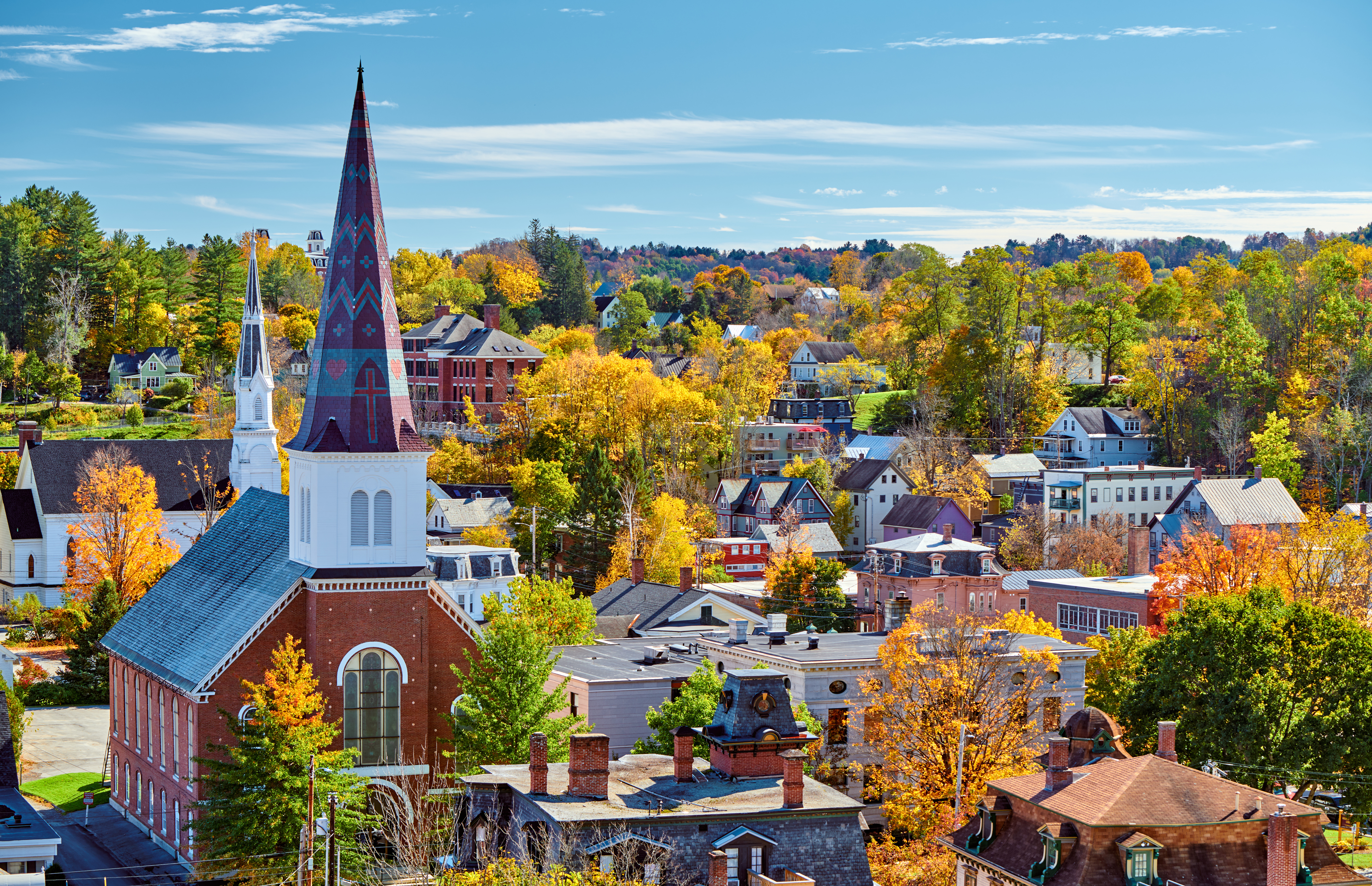Vermont town in autumn