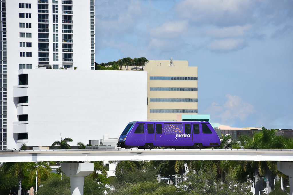 The Metromover in Miami en-route along elevated tracks