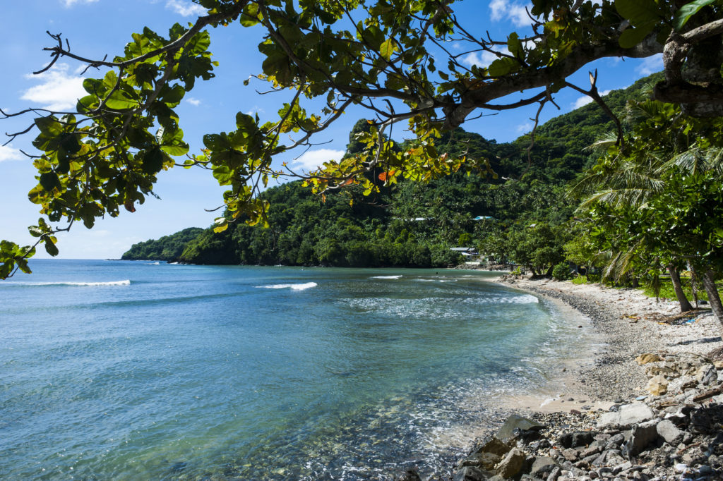A beach on the island of Tutuila in the National Park of the American Samoa