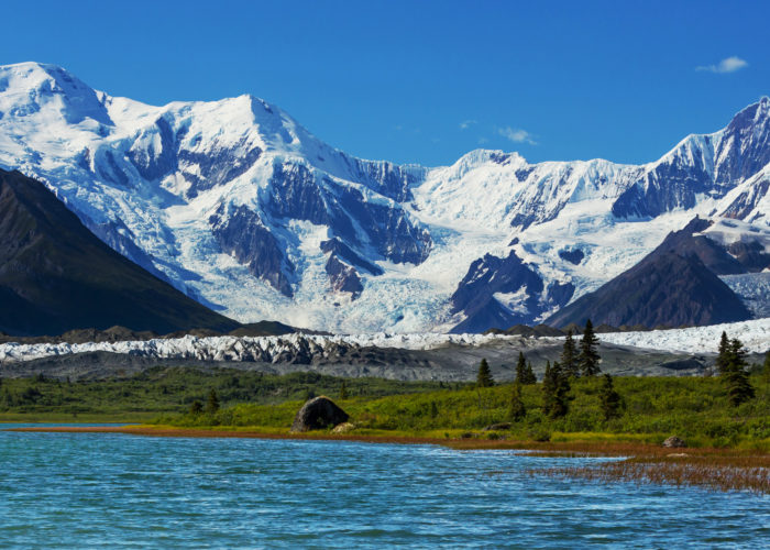 A view of the mountains at Wrangell-St. Elias National Park
