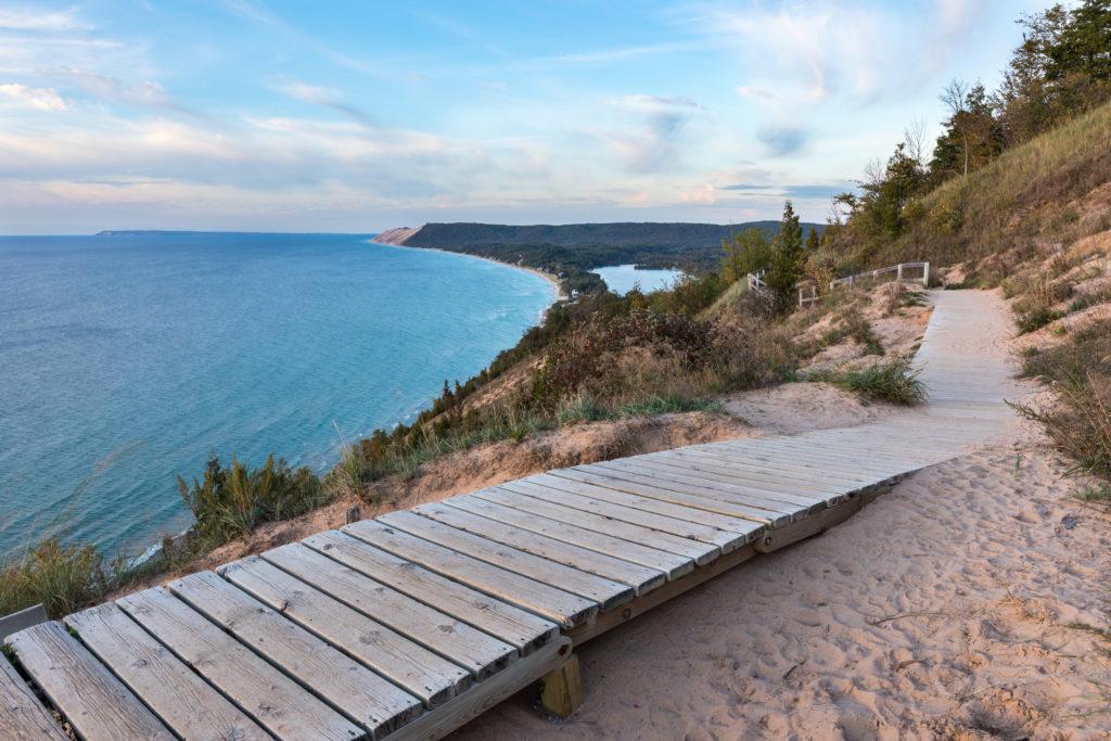 Wooden path at Sleeping Bear Dunes