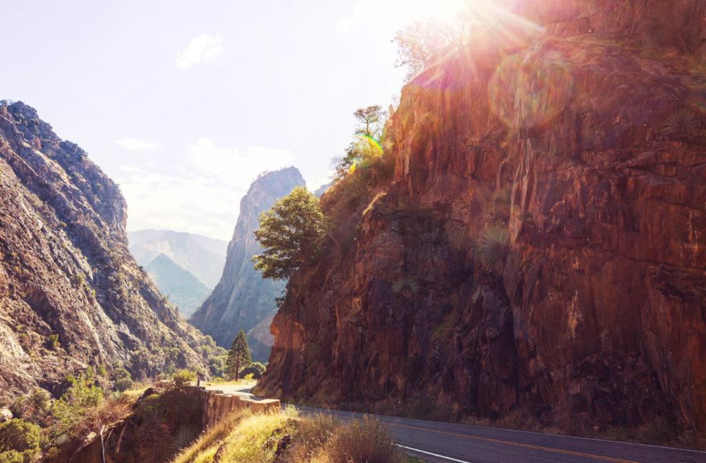 Road through Kings Canyon, California