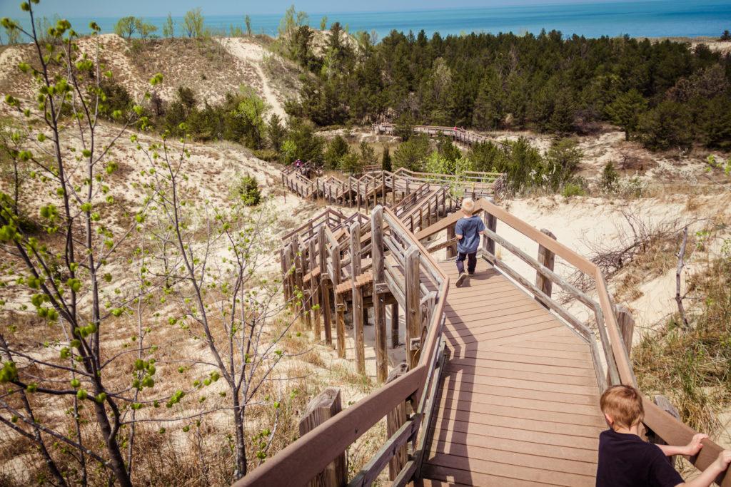 Boardwalk steps down a dune at Indiana Dunes National Park