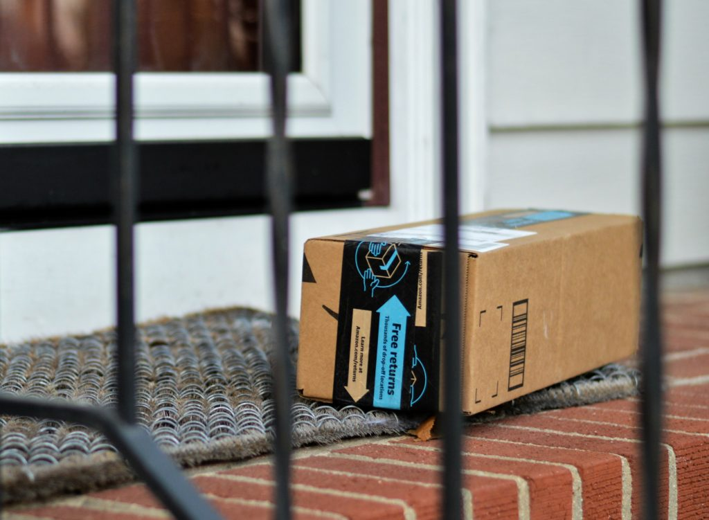 Amazon Prime package on a front porch