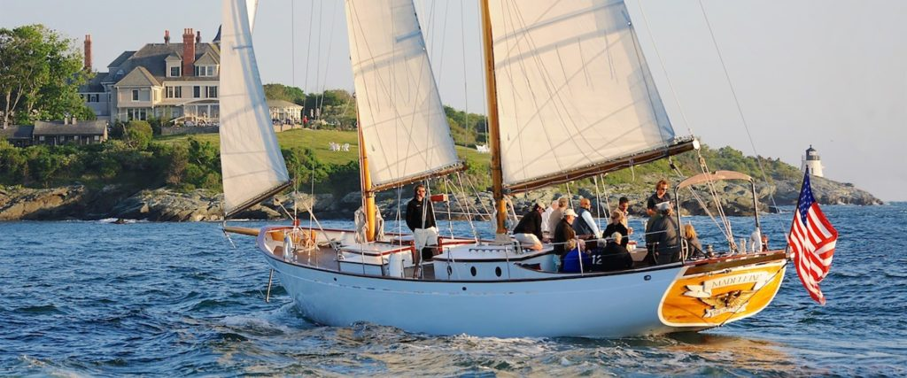 Tourists onboard a Classic Cruises of Newport ship