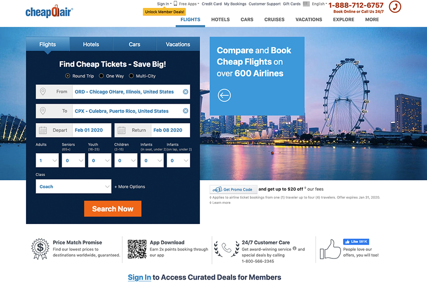 CheapOair Flight Booking Site