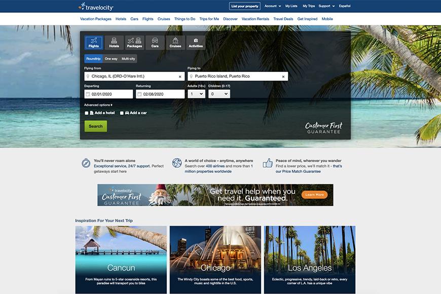 Travelocity Flight Booking Site