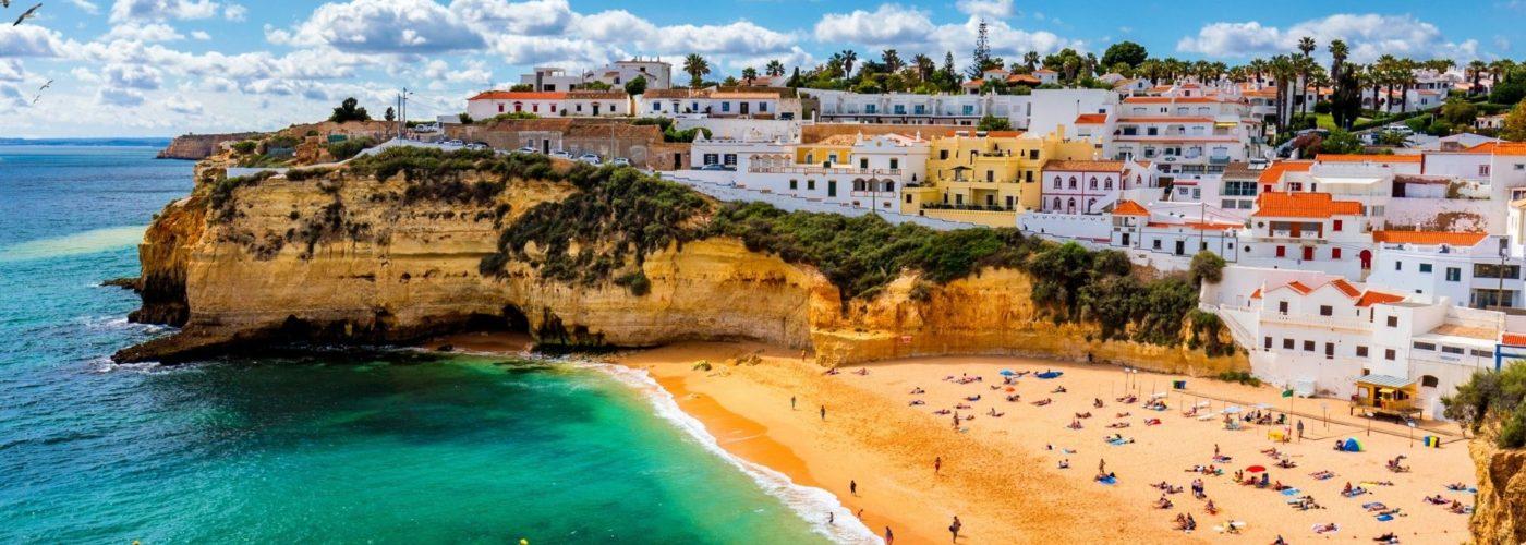 Sunny beach in portugal