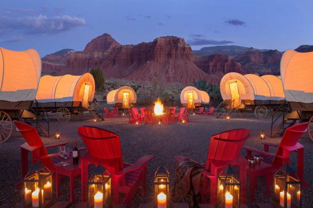 Six conestoga wagon glamping tents at Capitol Reef Resort