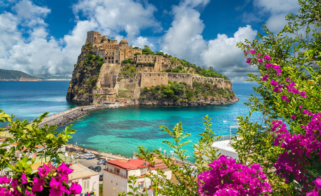 View of castle off the island of Ischia, Italy