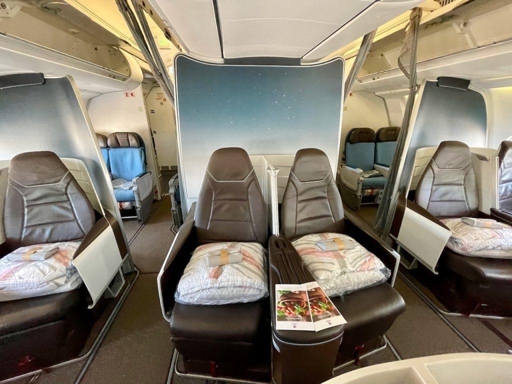 The interior of a plane cabin