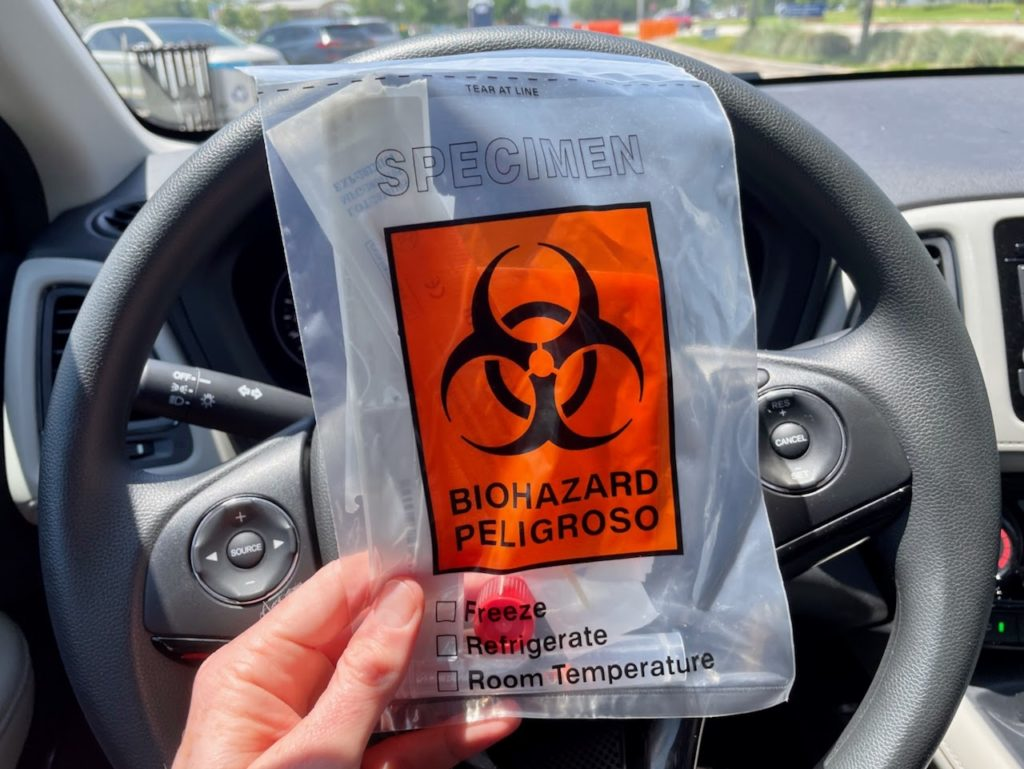 COVID-19 test biohazard bag
