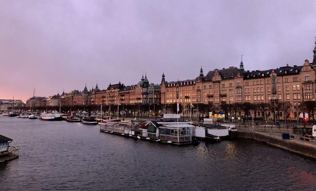 Street alongside a river in Stockholm