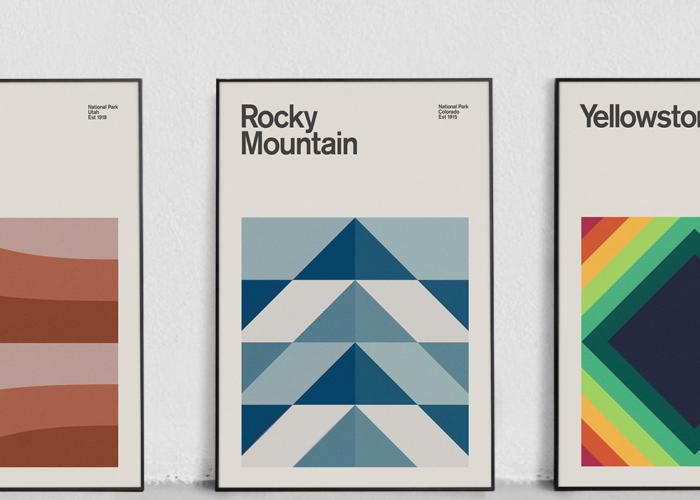 Three minimalist prints based on national parks