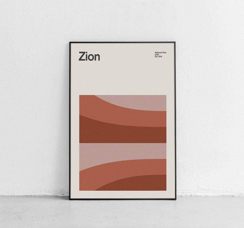 """A minimalist art print with the word """"Zion"""" across the top"""