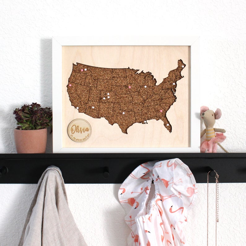 Cork board map of the United States