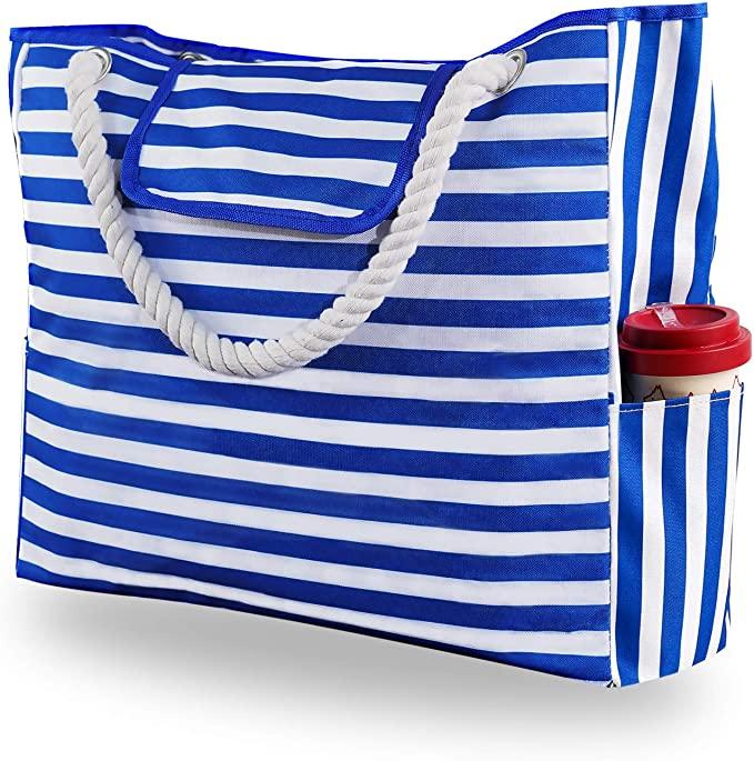 Genovega Extra Large Waterproof Canvas Beach Bag