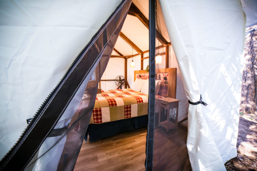Glamping tent at Inn Town Campground