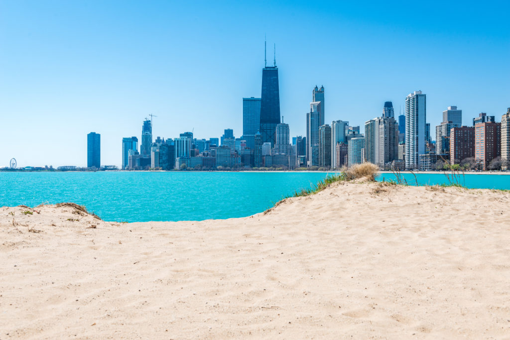 Beach in the foreground of the Chicago skyline