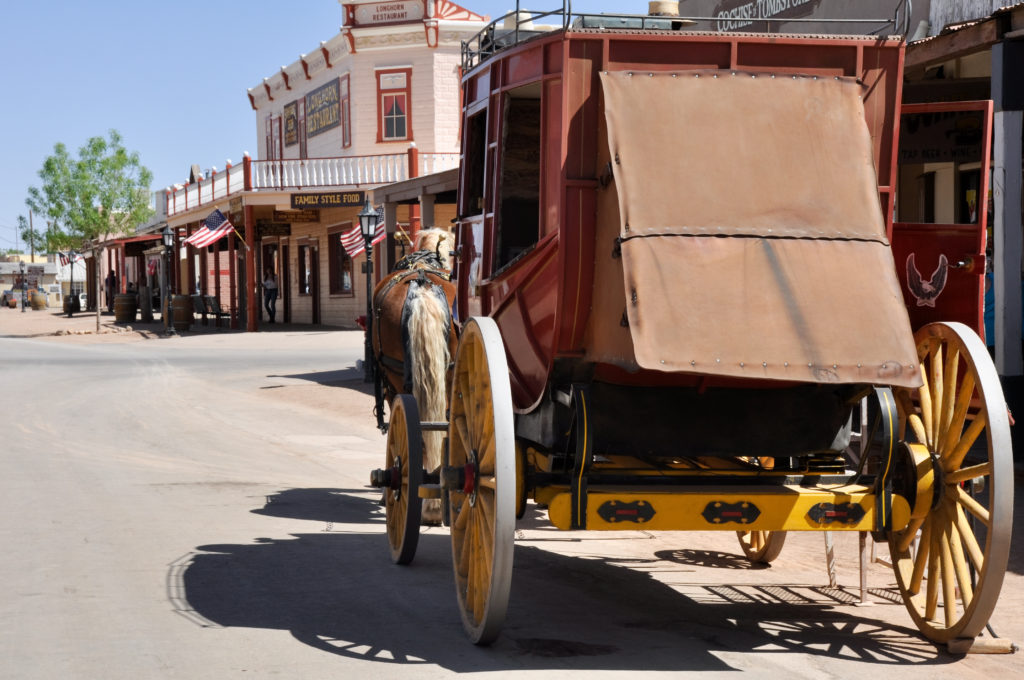 Stagecoach pulled down the road of Tombstone, Arizona