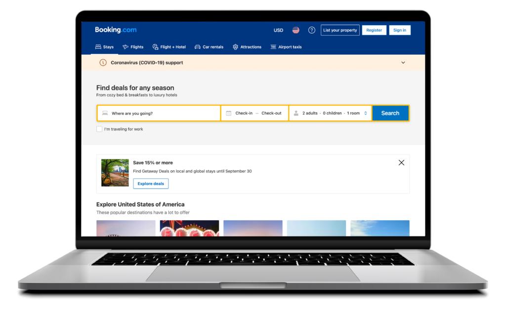 Computer screen displaying Booking.com