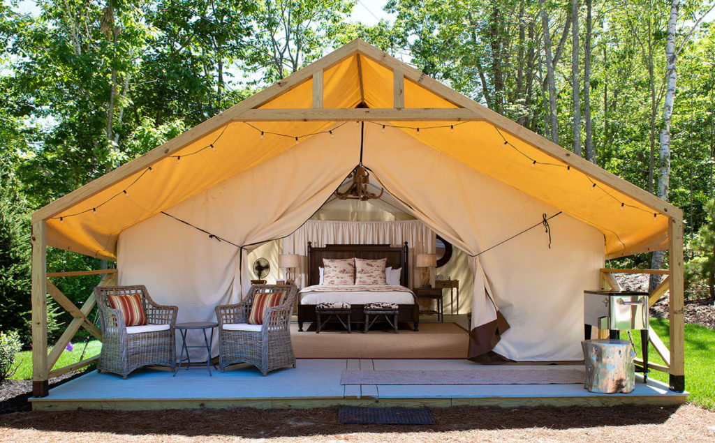 Glamping tent at Sandy Pines Campground