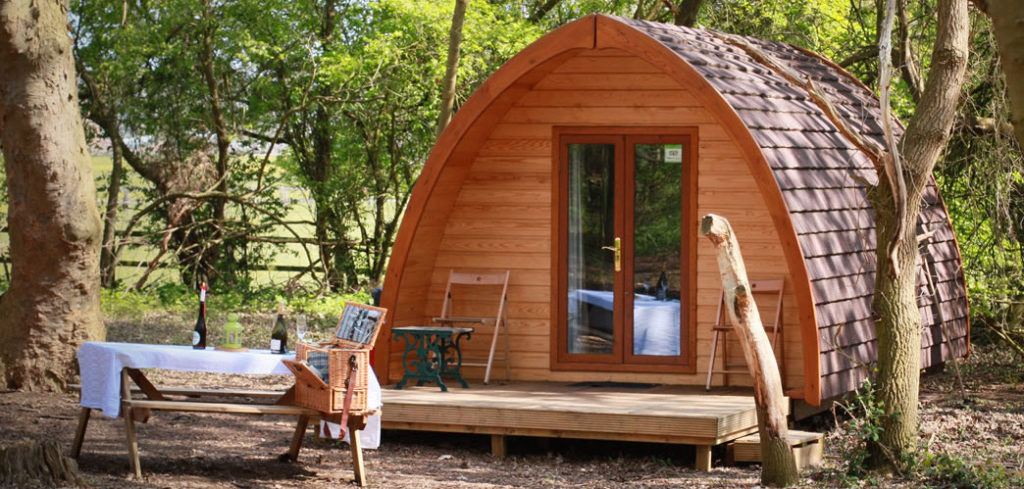 Glamping accommodation at West Stow Pods