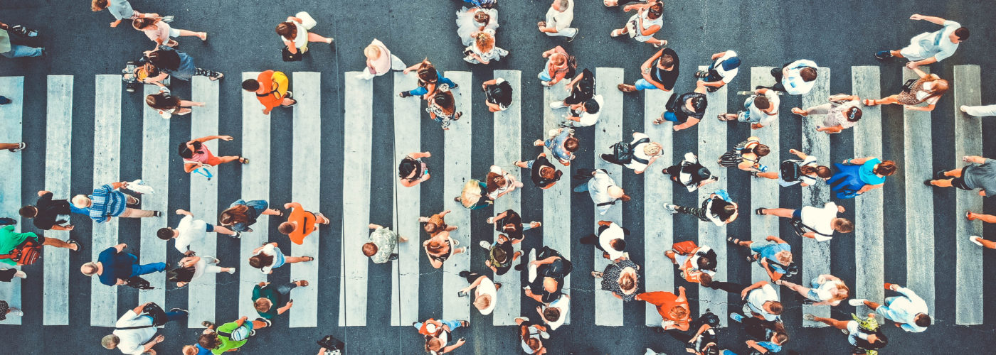 Aerial view of a busy crosswalk