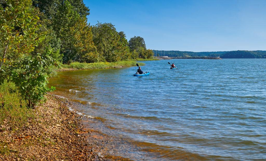 Two people kayaking on Kentucky Lake