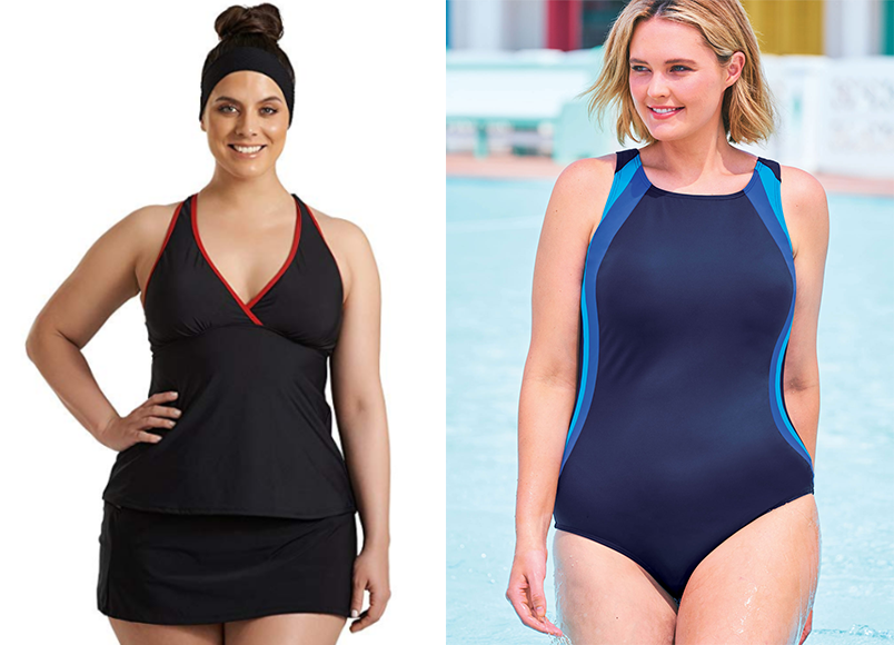 Swimsuits for All Colorblock One-Piece and Charlie Surplice Racerback Tankini Swimsuit Top