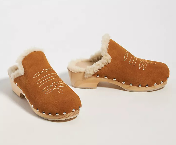 Anthropologie Shearling-Lined Clogs