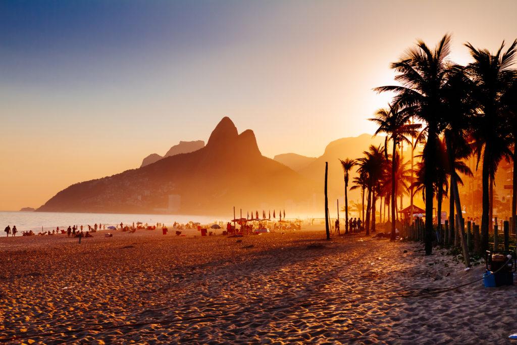 Ipanema, Brazil at sunset