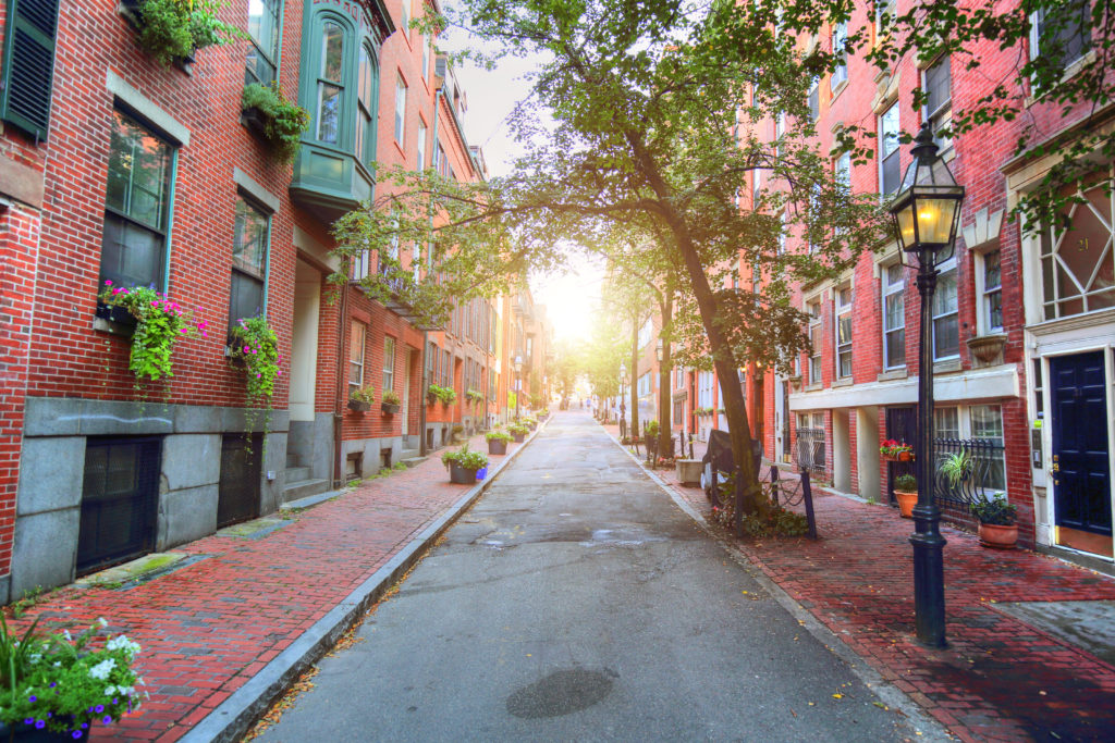 Historic houses on street in Boston, Massachusetts