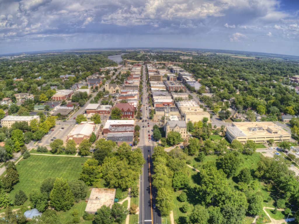 Aerial view of Lawrence, Kansas