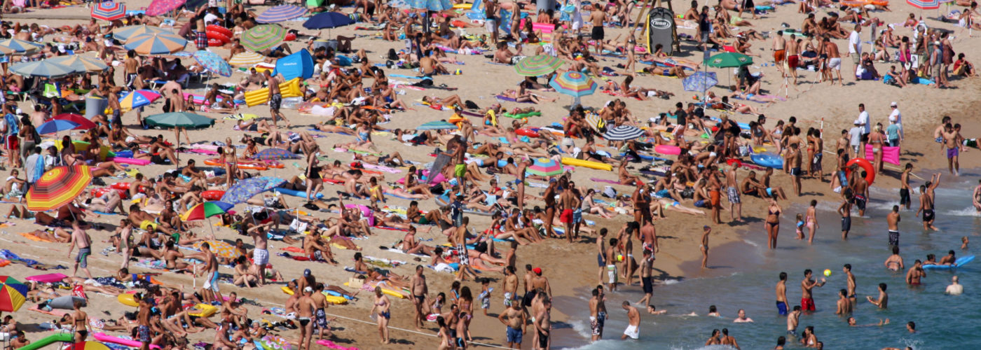 Aerial view of extremely crowded beach