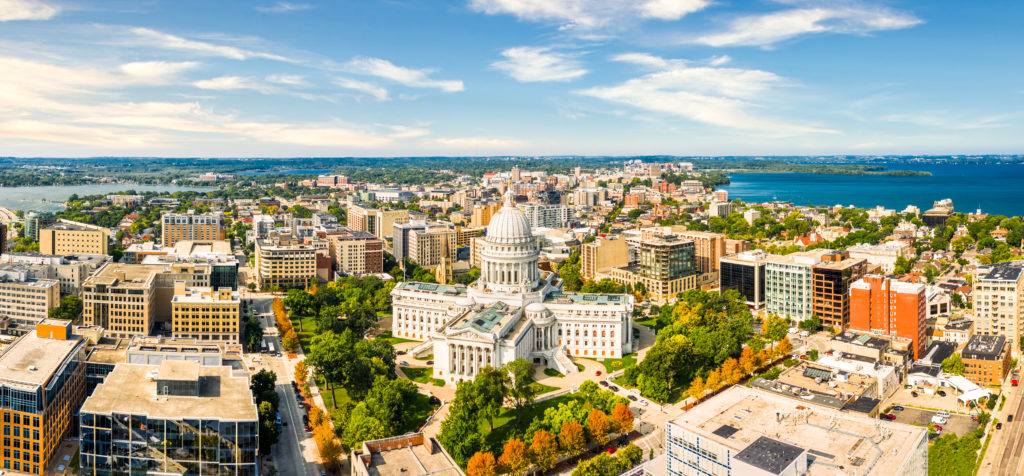 Aerial view of Madison, Wisconsin