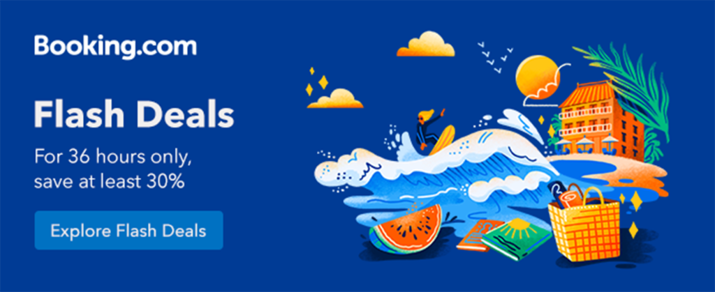 Booking.com banner advertising their upcoming flash sales