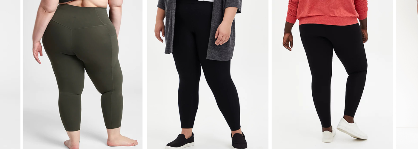 Multiple women, viewed from the waist down, wearing various brands of leggings