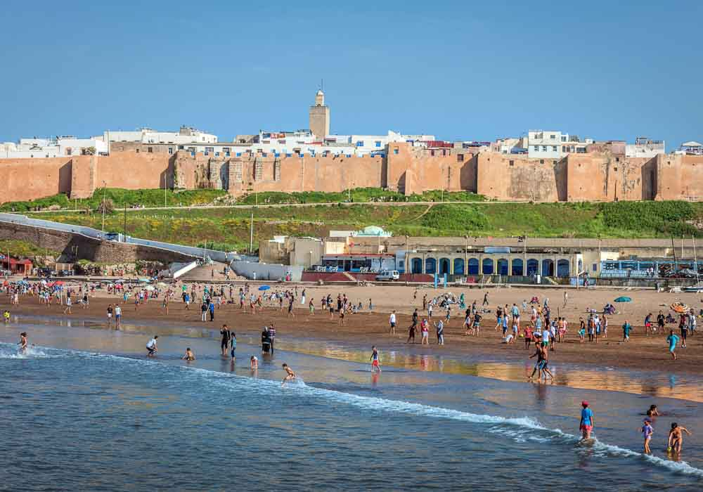 People on Rabat Beach outside of Rabat, Morocco