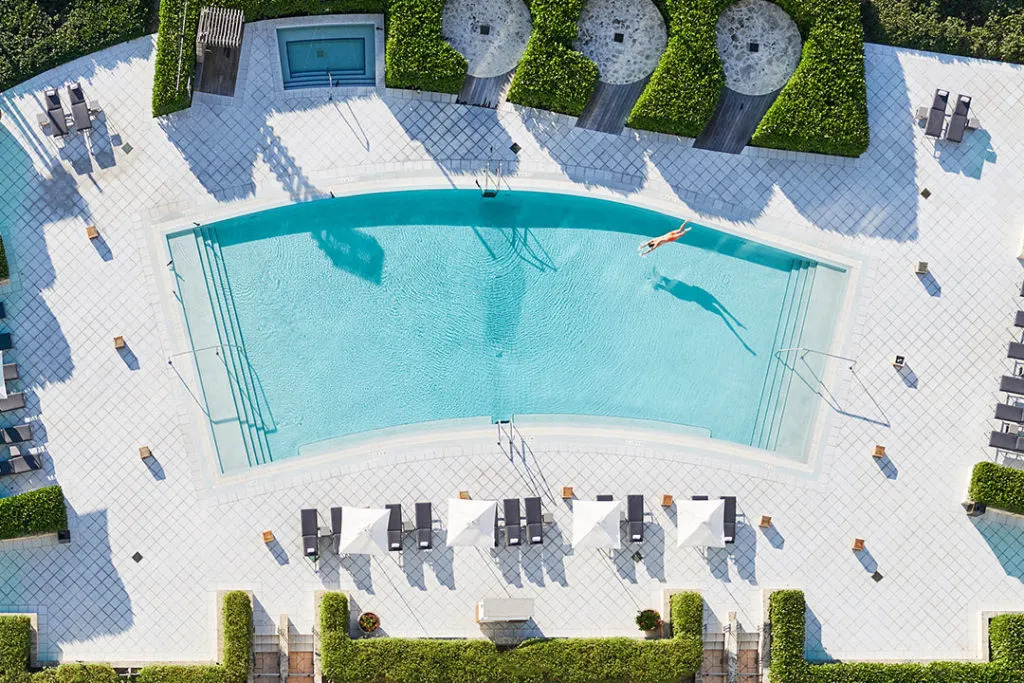 Overhead view of pool at the Carillon Miami Wellness Resort
