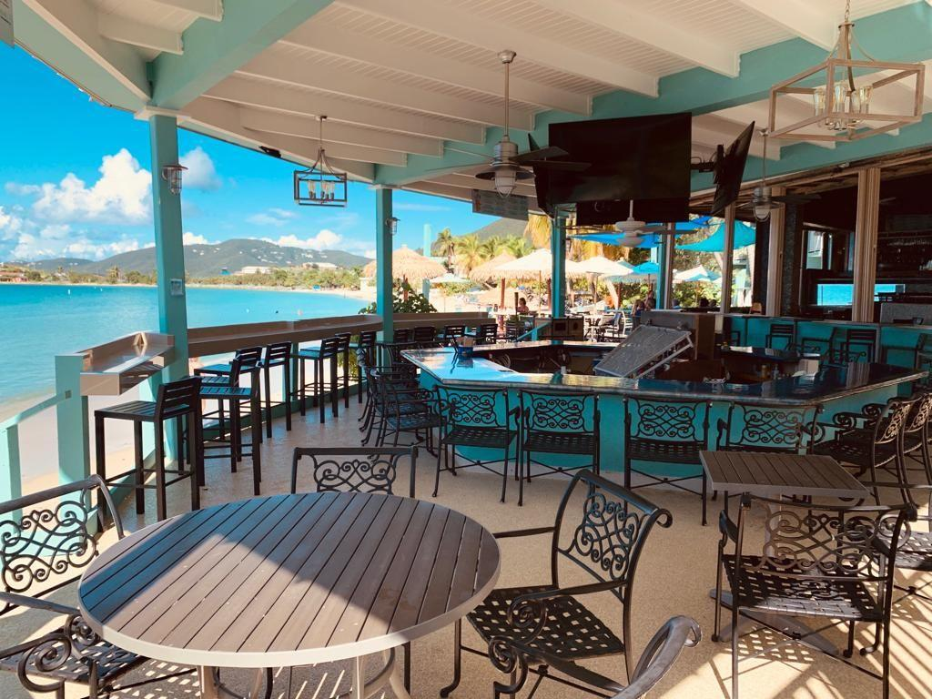 Oceanfront patio at the Emerald Beach Resort, St. Thomas