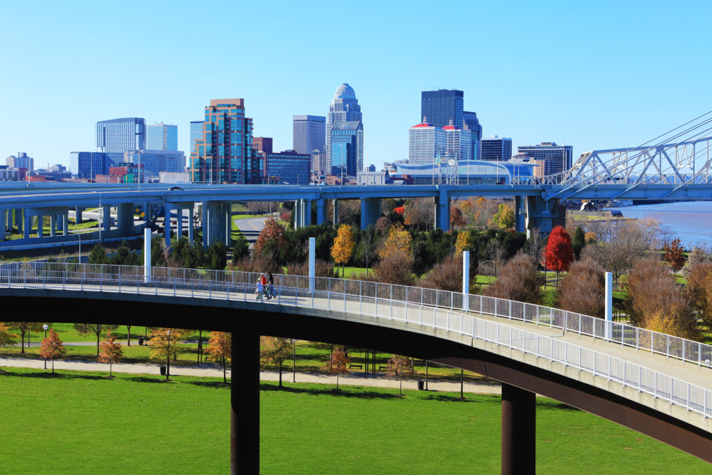 Pedestrian walkway against the skyline of Louisville, Kentucky