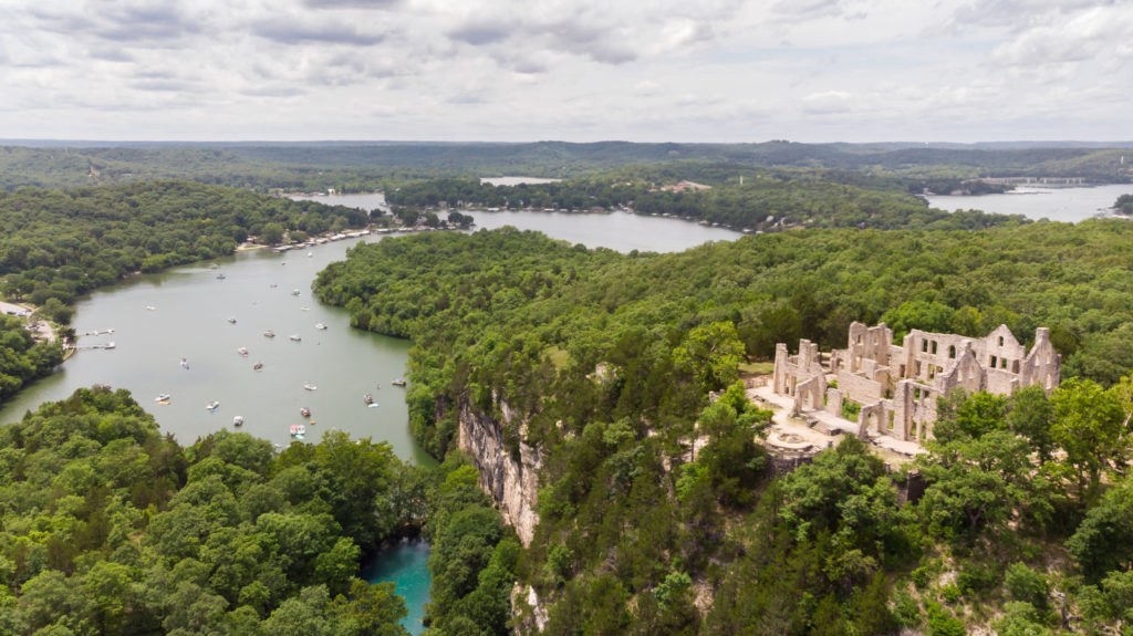 Aerial view of lake and castle ruins at Lake of the Ozarks, Missouri