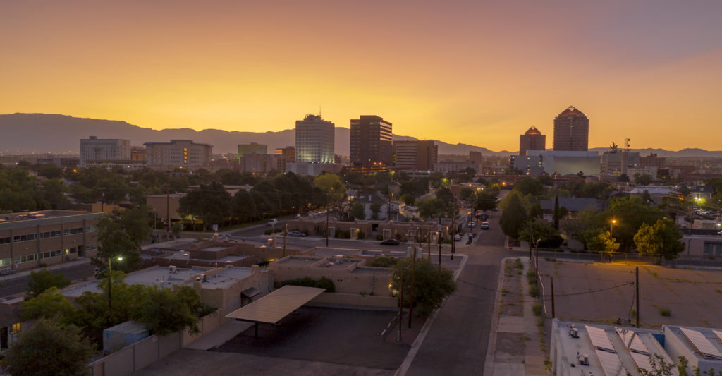 Skyline of Albuquerque, New Mexico at sunset