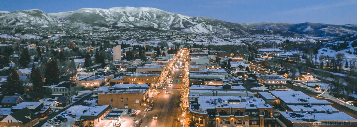 Aerial view of Steamboat Springs, Colorado