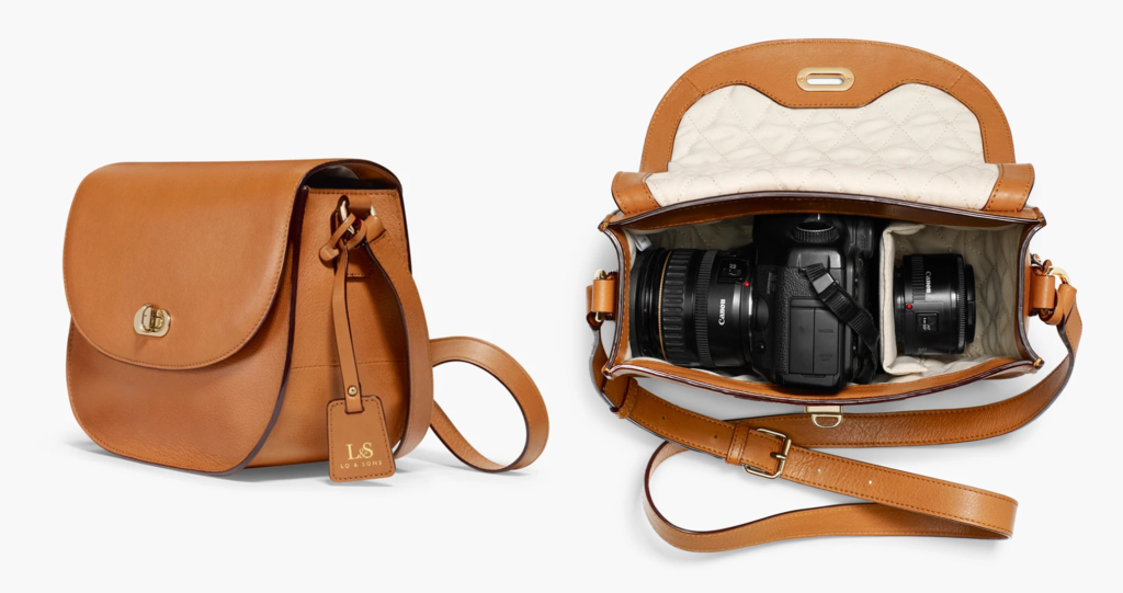 Tan leather camera bag from Lo & Sons