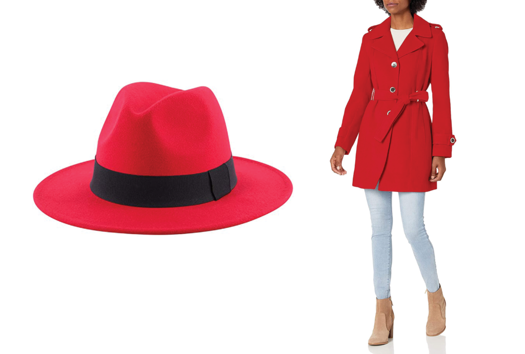 Red trench coat and red hat